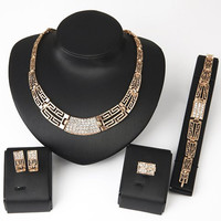 Delicate Rhinestone Hollow Out Necklace Bracelet Ring and A Pair of Earrings For Women