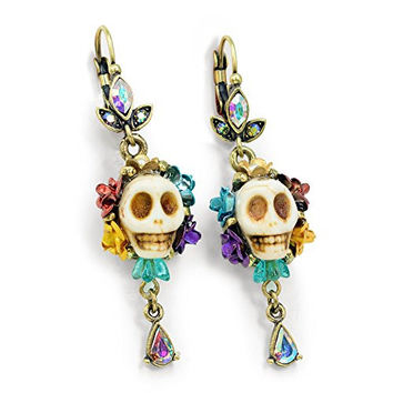 Skull Earrings, Day of the Dead Skull Earrings, Dia de los Muertos Earrings, Pinup Jewelry, Sugar Skull Jewelry, Colorful Skull Earrings, Mexican Jewelry (Bone)