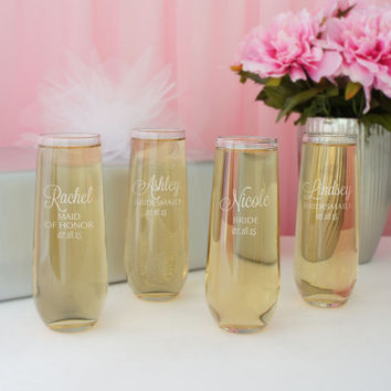 Stemless Personalized Champagne Toasting Flute with Bridal Monogram Design Options & Font Selection (Each - 8.5 oz. Flute)