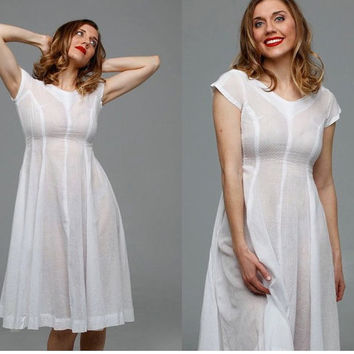 Savannah Summer dress | vintage 1950s dress • white cotton summer 50s dress