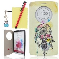 Ancerson PU Leather Case for LG G3 D855 Luxury Colorful Printed Ultra Slim Simple Classic Design Quick Circle Windows View to Show Time Flip Folio Stand Protective Shell Skin Free with a Red Stylus Touchscreen Pen, a 3.5mm Universal Crystal Diamond Rhinest