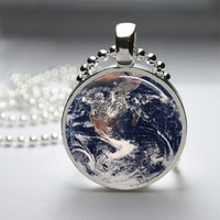 Photo Art Glass Bezel Pendant Earth Necklace