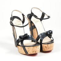 DCCK2 Black Christian Louboutin Leather Miss Cristo 140 Cork Wedge Sandals