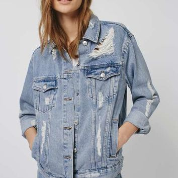 MOTO Rip Oversized Denim Jacket