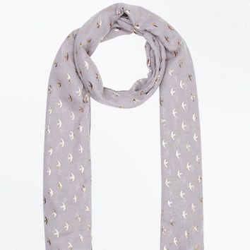 Light Grey Foil Bird Pattern Scarf | New Look