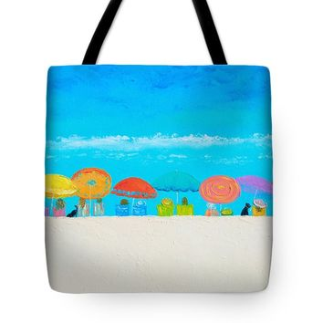 """Beach painting - Those lazy days of Summer Throw Pillow 14"""" x 14"""""""