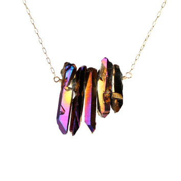Crystal bar necklace - aura quartz crystal - raw crystal necklace - bib necklace - five purple aura crystal wands on a 14k gold filled chain