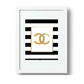Coco Chanel Quote - Gold Foil - Chanel Logo - Chanel Home Decor - Chanel Print, jpg Images, 3 sizes