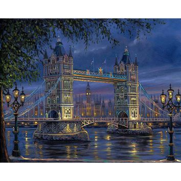 Frameless London Bridge Landscape DIY Painting By Numbers Wall Art Picture Hand Painted For Home Decoration 40x50cm Artwork