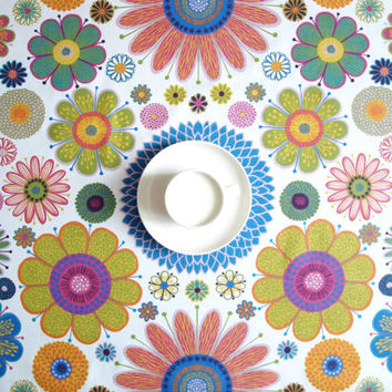 Tablecloth white bright blue pink mustard  flower Floral Scandinavian Design , runner , napkins , curtains , pillows available, great GIFT