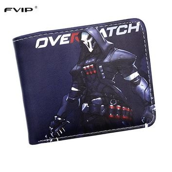 FVIP New Arrival Coin Purse Overwatch Wallet OW Fashion Reaper Mccree Genji D.VA Tracer Ana Bastion Short Men Women Wallet