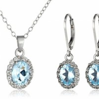 Sterling Silver and Blue Topaz Pendant Necklace and Earrings @ Jewelry Wonder