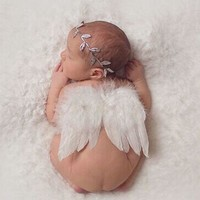 2Pc Set Angel Feather Wings Baby Girl Leaves Headband Hair accessories Photo Shoot Outfit for Newborn Hairband Photography Props
