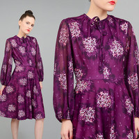 FALL SALE Vintage 70s Purple Floral Dress Romantic Retro Sheer Sleeve Dress Garden Party Pussy Bow Knee Length Midi Dress Small S