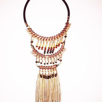 Dripping in Gold Statement Necklace - Brown Ed