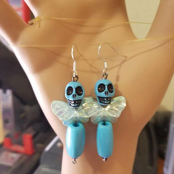 blue sugar skull earrings skull butterfly earrings dangles goth skeleton bead earrings day of the dead beaded punk handmade original jewelry