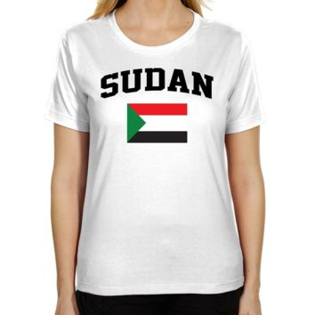 Sudan Ladies Flag Classic Fit T-Shirt - White