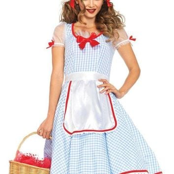 DCCKLP2 2PC.Kansas Sweetie,gingham dress and ribbon trimmed apron in BLUE/WHITE