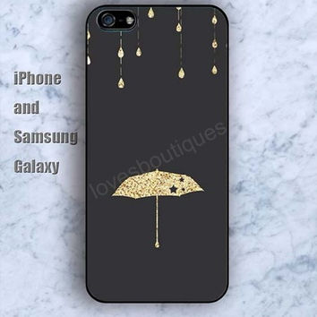 Shining umbrella golden iPhone 5/5S Ipod touch Silicone Rubber Case, Phone cover