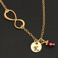 18K Gold INFINITY Necklace . Infinity Gold Necklace with Initial and Birthstone  . Monogram Necklace . Mothers gift . Original Design