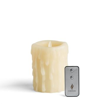 """Luminara 5"""" Heavy Wax Drip Flameless Candle with Remote"""