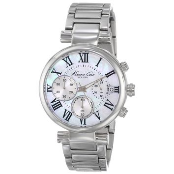Kenneth Cole KC4971 Women's Classic Chronograph White MOP Dial Stainless Steel Watch