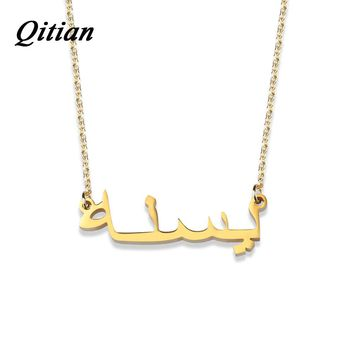 Arabic Name Necklace     Stainless Steel Choker Gold Color Personalized Nameplated Necklaces & Pendants  Custom Jewelry Gift