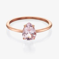 Minimalist 14K Morganite Engagement Ring, Bezel Set Morganite Solitaire Ring, Pear Shape Morganite, Morganite Teardrop, Dainty Morganite