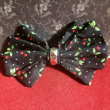 Hand sewn extra large rockabilly cherry studded hair bow barrette accessory