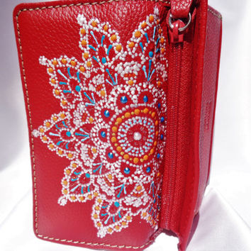 Woman wallet Hand painting Bohemian decor Bohemian wallet Leather wallet
