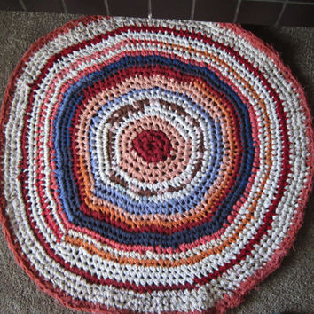 Crocheted Rag Rug Recycled Repurposed Fabrics in Shabby Chic Santa Fe Colours