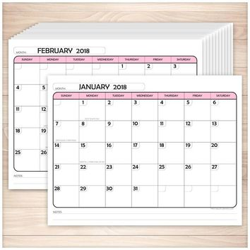 Modern Pink 2018 Calendar pages - Printable