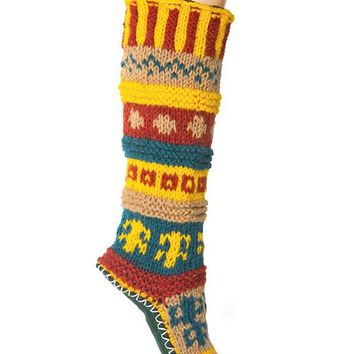 Hand Knit Wool Long Slipper Socks | Tibetan Socks