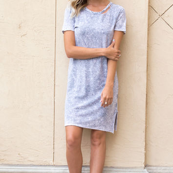 Carlie Distressed Grey Tee Dress