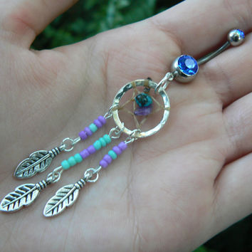 dreamcatcher belly ring turquoise and amethyst Purple and turquoise beaded