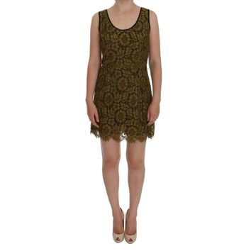 Dolce & Gabbana Yellow Floral Lace Short Mini Shift Dress