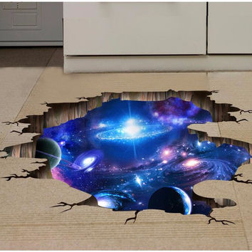 3D Outer Space Planet Wall Stickers for kids room  Beautiful Galaxy Stickers muraux Decor muursticker vinilos paredes poster