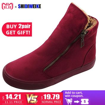 SHIDIWEIKE Women's Winter Shoes PU Leather Boots Brand Women Winter Shoes High Quality Ankle Boot With Platform M116