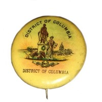 Advertising Button Pin Sweet Caporal Cigarette State Seal District Columbia