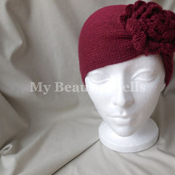 Winter Headband with flower for womens, knitted headbands,womens head band, hand crocheted Winter head bands, Color Red