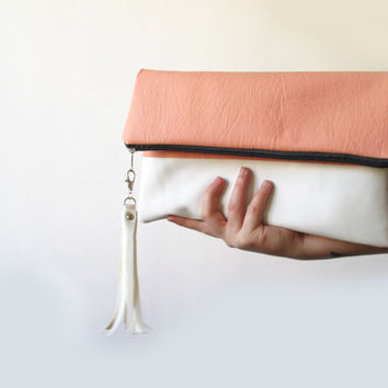 Large Clutch purse Foldover Salmon pink / Peach White  by byMART
