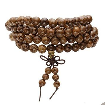 MILAKOO Wood Bead Bracelet Tibetan Buddhist Meditation Mala Prayer Beads Men Elastic Bracelet 68mm