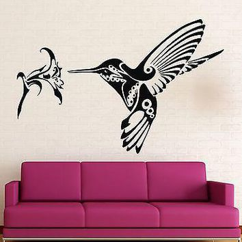 Wall Stickers Vinyl Decal Hummingbird bird flower Great Rooms Decor Unique Gift (ig1752)