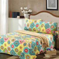 Tache 3 Piece Geo Multi Spring Flower Bedspread Set, Queen