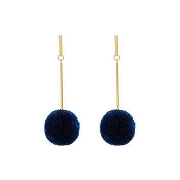 Navy Pom Design Long Drop Earrings
