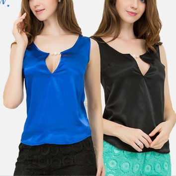 T Shirt Silk Sexy V Neck Tops Solid Color T-shirt Sleeveless Pearls Shirt Blouse