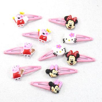 10 pcs/set 2017 Fashion Girls Hair Clips Hello kitty Cartoon Barrette 5cm BB Hairpins Children Hair Accessories
