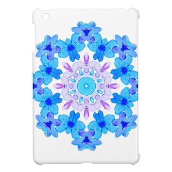 Flower Mandala Violet Blue Watercolor Floral Art Case For The iPad Mini