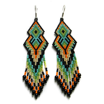 Colorful seed bead earrings  - sterling silver ear wires - peyote earrings