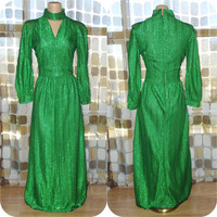 Vintage 70s Dress | 1970s Metallic Maxi Dress | GREEN Lurex Glitter | Choker Neckline | Long Sleeves | Full Length | Size L/XL